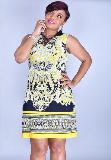 Sandra Darren YUSRALI- Puff Print Round Neck Dress