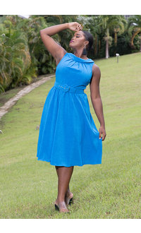 NAIMA- Cowl Neck Fit & Flare Dress