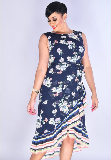 Studio 1 FADIZA- Floral Sleeveless Chiffon Wrap Dress