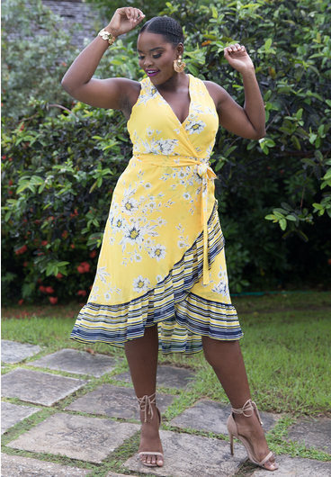 Sandra Darren FADILA- Floral Faux Wrap Dress with Stripe Hem