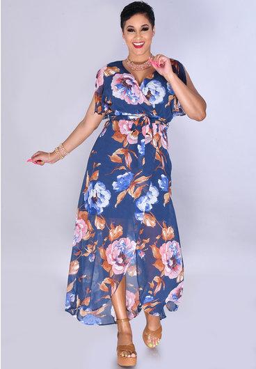FRANGIA- Sheer Floral Print Wrap Dress