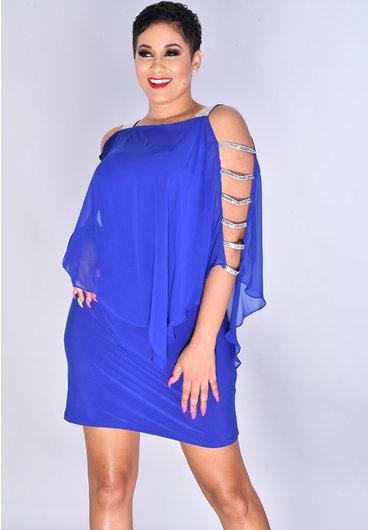 MSK FAEDRA- Cape Sequined Broad Strap Dress