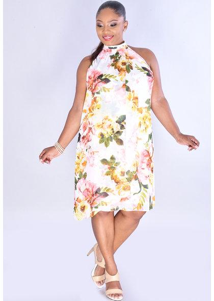 FAREN- Sleeveless Mock Neck Layered Dress