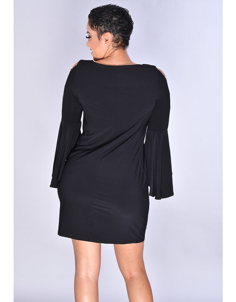 MSK IDELJA-Round Neck Dress Drama Sleeve with Sequined Cut Outs