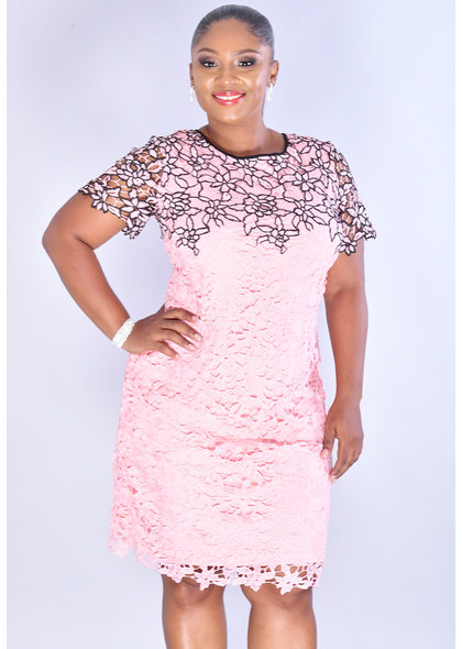CECILY- Floral 2 Tone Lace Dress