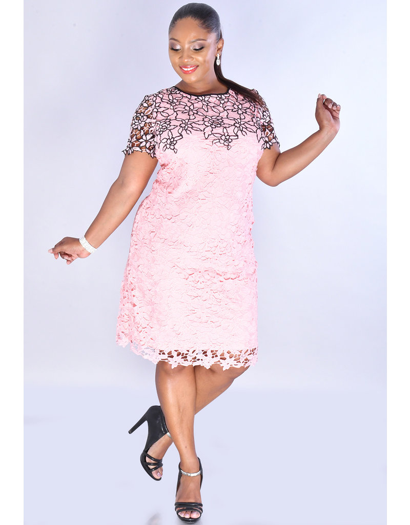 CECILY- Floral 2 Tone Lace Dress