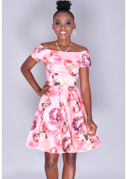 TYLER- Floral Rose Print Fit & Flare Dress