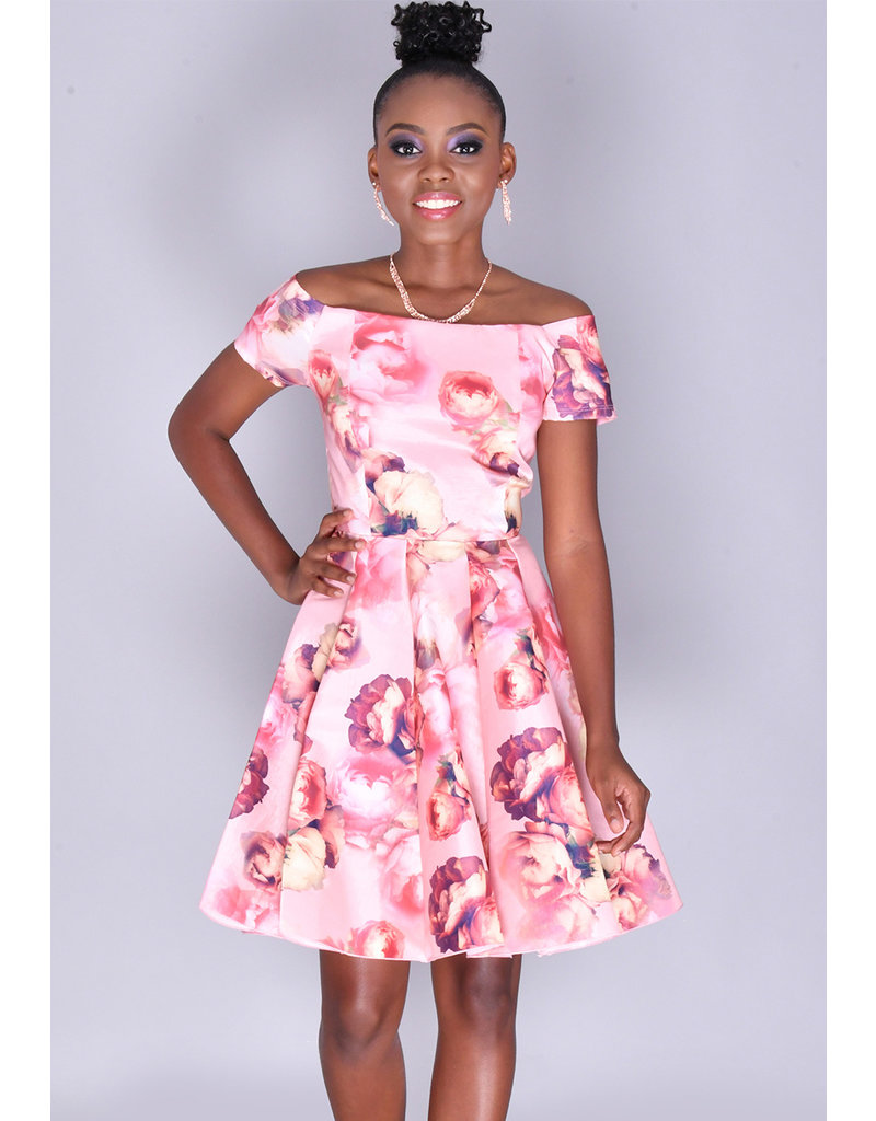 TYLER- Floral Rose Print Fit & Flare Dress