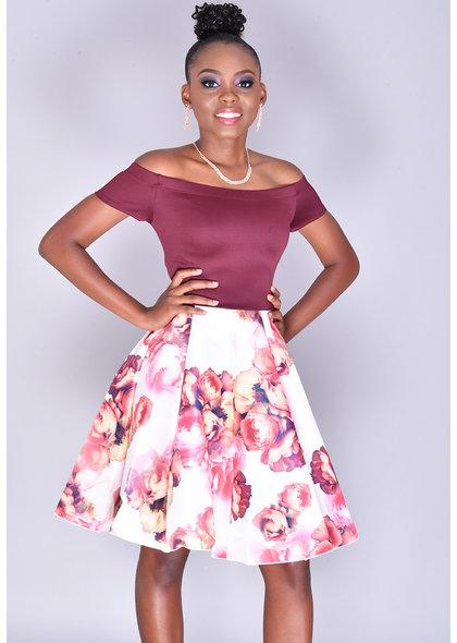 TULSA- Fit & Flare Floral Bottom Dress
