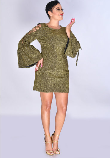 JEMMA MARCIA- Cold Shoulder Long Sleeve Dress