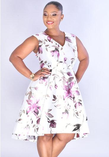 Shelby & Palmer SOLIEDAD- V-Neck Floral Foil Cap Sleeve HI-LO  Dress