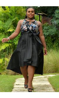 RMR SYESHA- Mesh  Top Keyhole HI-Lo Strap Dress