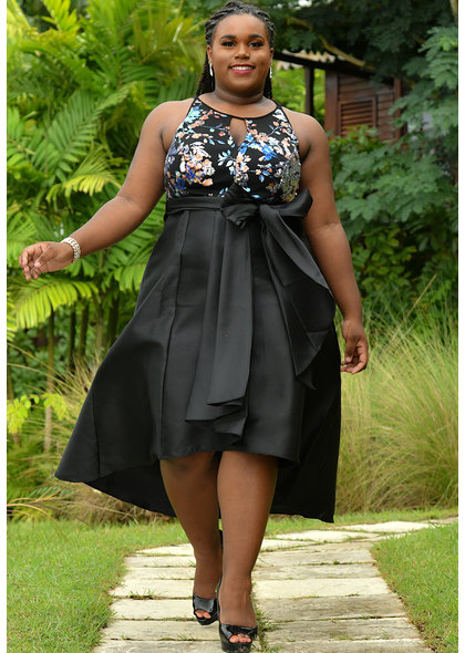 SYESHA- Mesh  Top Keyhole HI-Lo Strap Dress