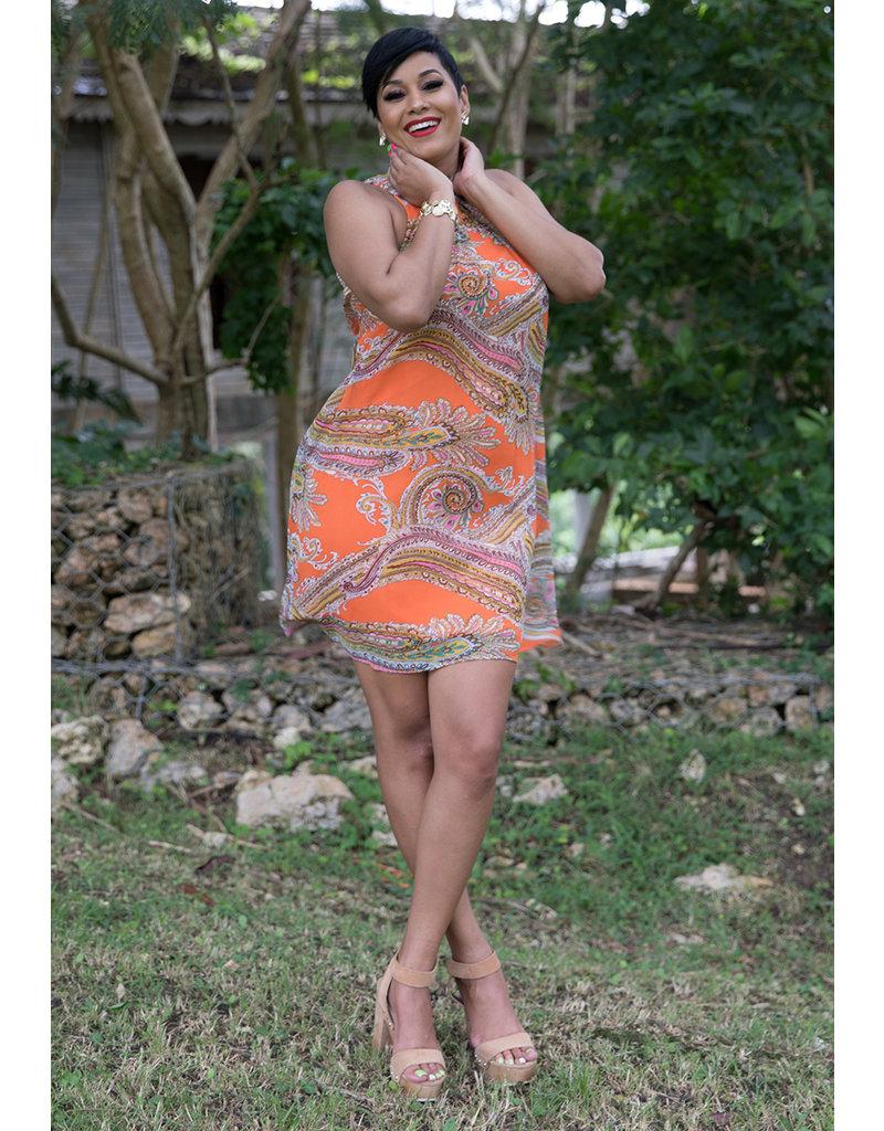 Signature FLAVIA- Mock Neck Trapeze Chiffon Dress
