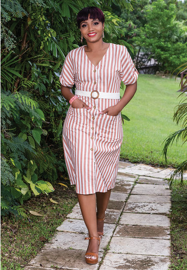 Day to Day KATIE- Stripe Short Sleeve Dress