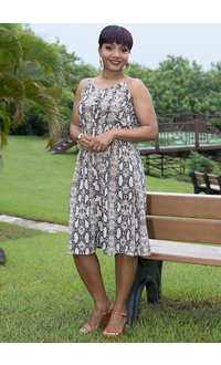 Blu Pepper ROHITA- Snake Skin V-Neck Dress with Buttons
