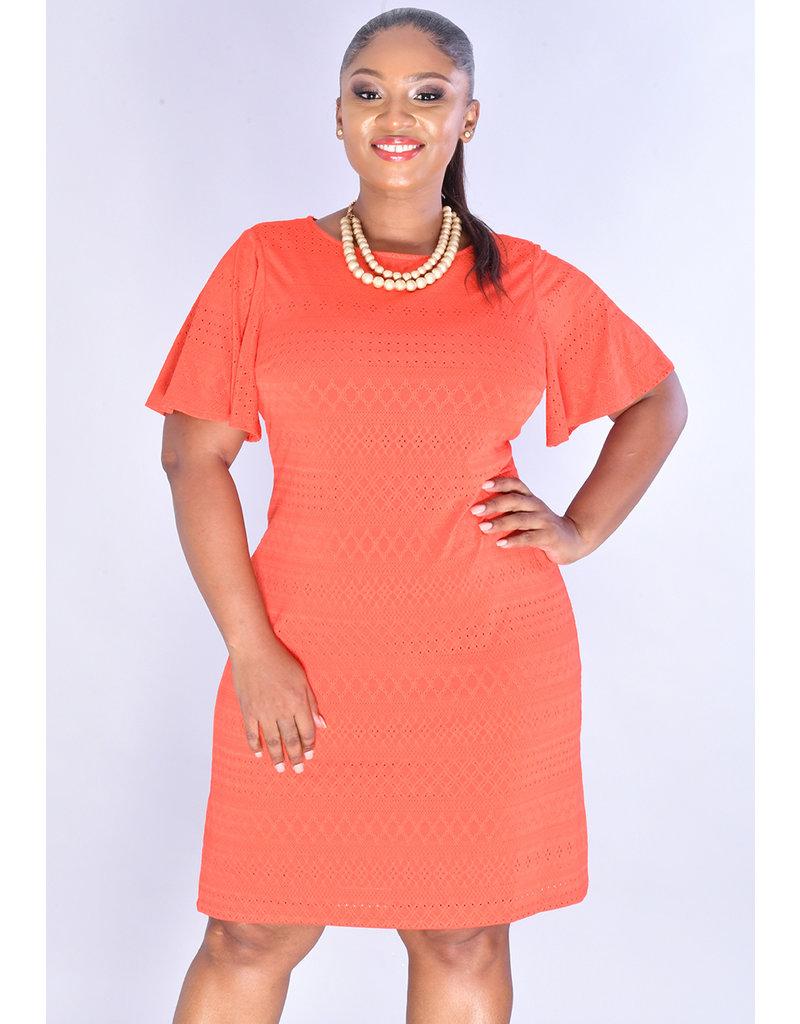 YANU- Round Neck Eyelets Pattern Short Sleeve Dress