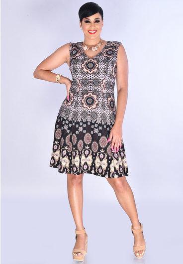 BABETTA- Printed V-Neck Broad Strap Fit & Flare Dress