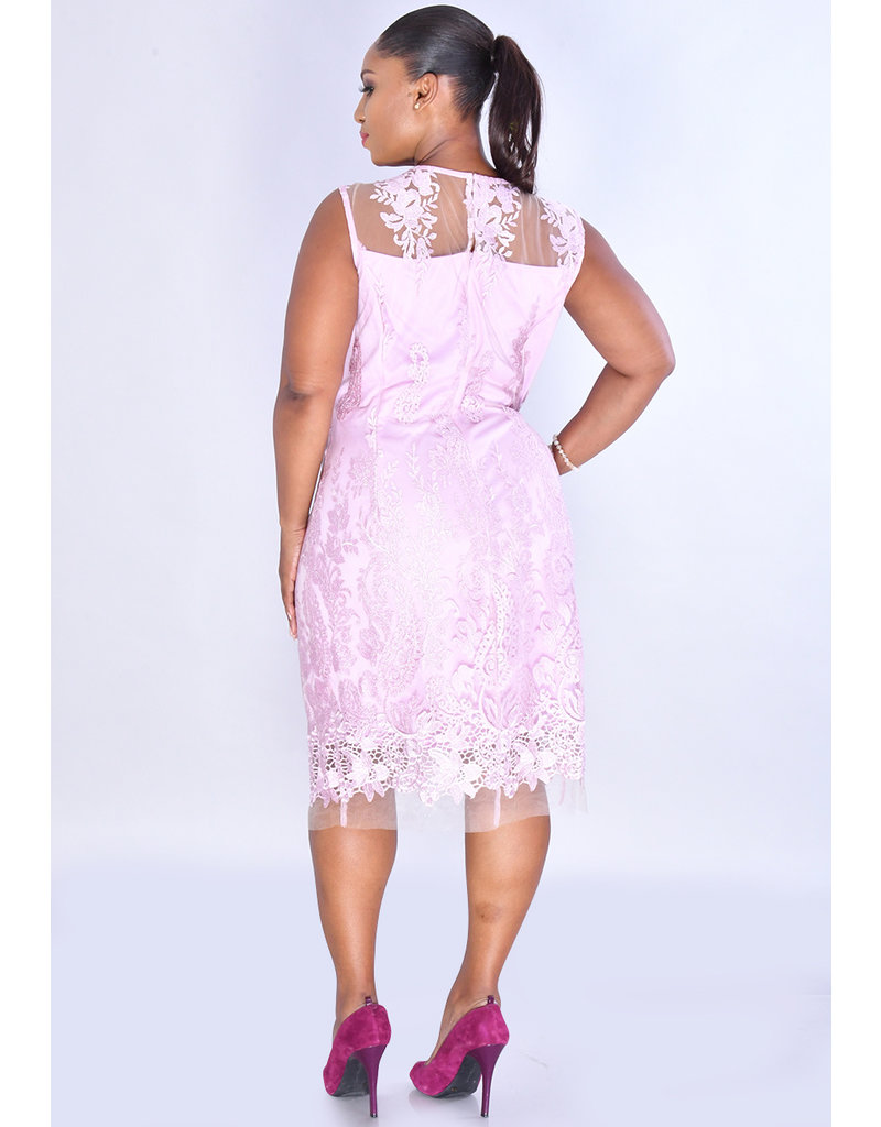 SD Collection MALVINA- Overlay Paisley Glitter Broad Strap Dress