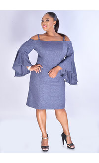 JONI- Glitter Cold Shoulder Dress with 3/4 Drama Sleeves