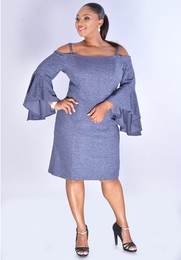 RMR JONI- Glitter Cold Shoulder Dress with 3/4 Drama Sleeves