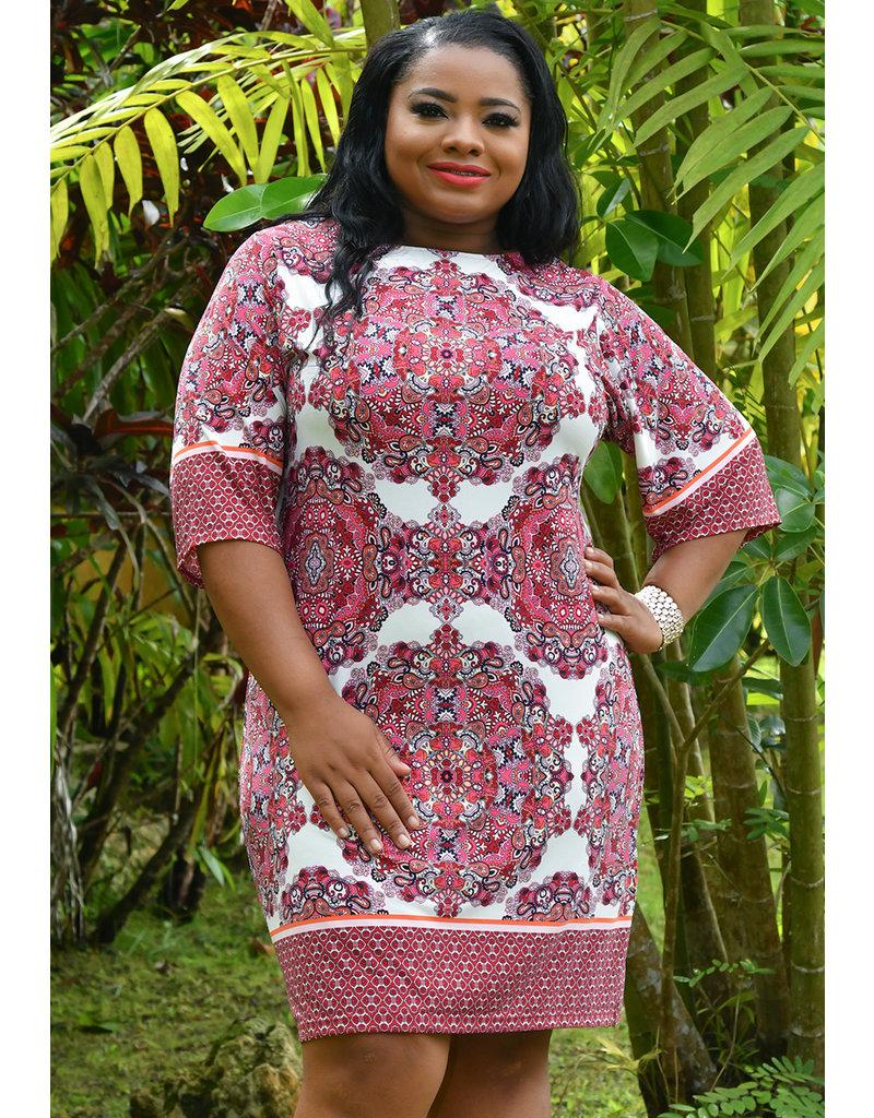 IRIDA- Mandala Print Round Neck Dress