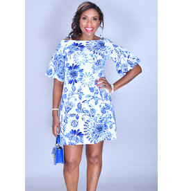 PIPER- Printed Cold Shoulder Bell Sleeve Dress