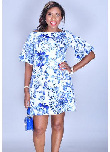 PIPER- Printed Cold Shoulder Bell Sleeve Dress