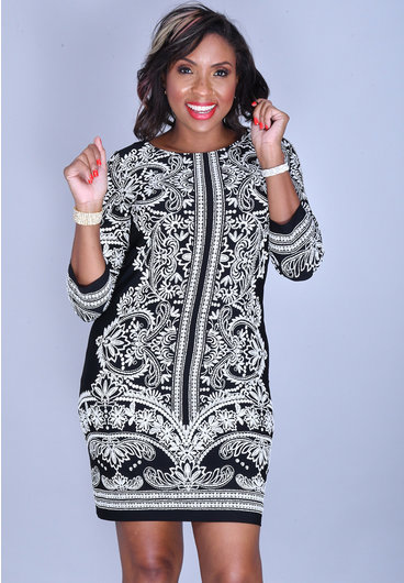 YARIA- Round Neck Puff Print 3/4 Sleeve Dress