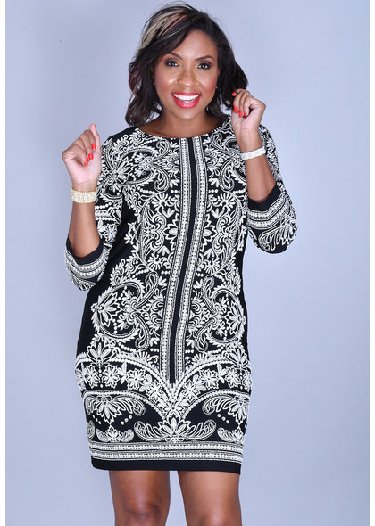 YARIA- Round Neck Puff Print 3/4 Sleeve Dress