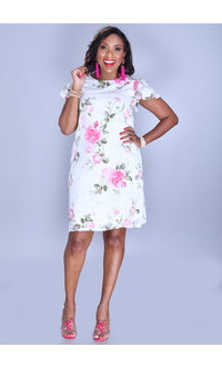 FIDELIA- Floral Patches Round Neck Dress