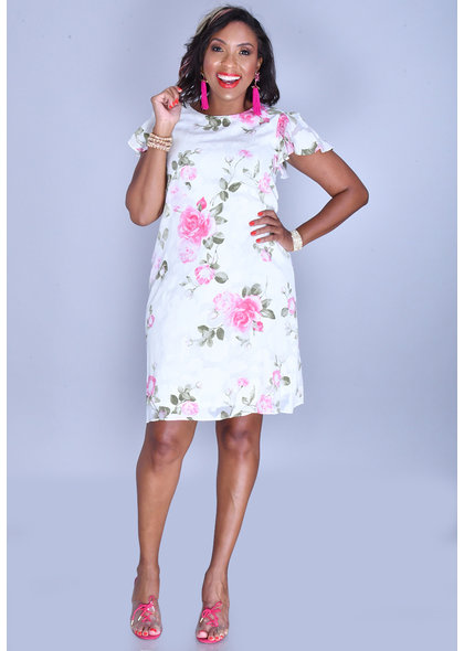 FIDELIA- Floral Patches Round Neck Dress