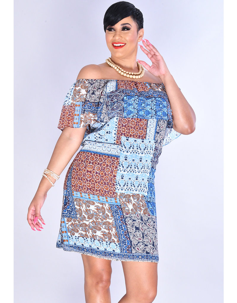 FRANZISKA- Patchwork Print Off Shoulder Dress