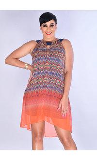 FARIBA- Ombre Print Keyhole Hi-Lo Dress