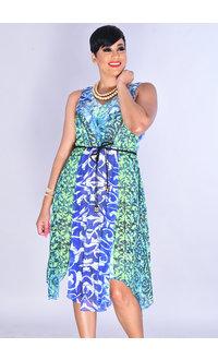 FAIGA- V-Neck Printed Dress with Ruffles