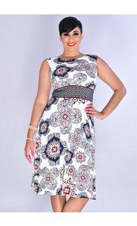 YESLY- Printed Cap Sleeve Dress