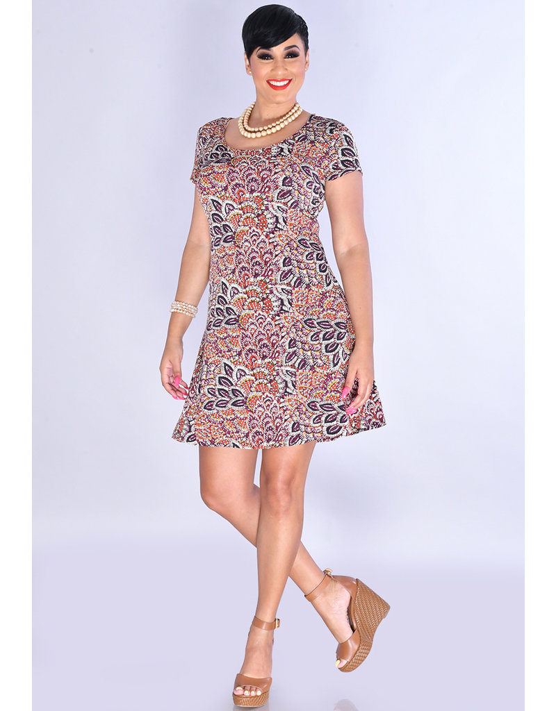 YOSELIN- Puff Leaf Print Dress