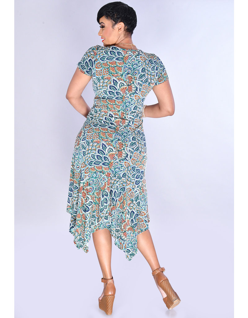 YOSELIN- Puff Leaf Print Dress