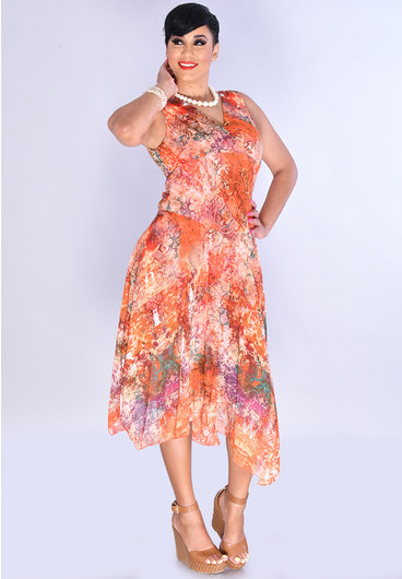 FERU- Printed V-Neck Dress