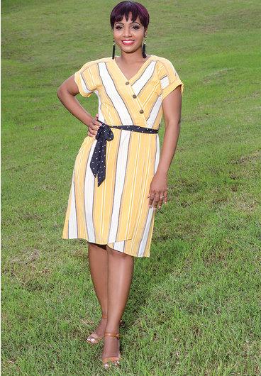 GIGI- Striped V-neck Short Sleeve Shift Dress
