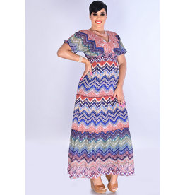 FARZANA- Printed Maxi V-neck Dress