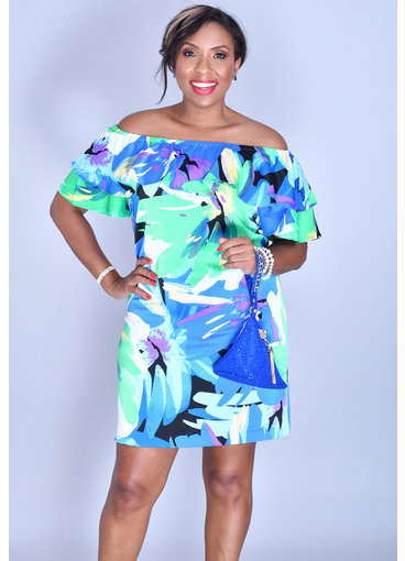 PRUNELLA- Printed Off Shoulder Ruffle Dress