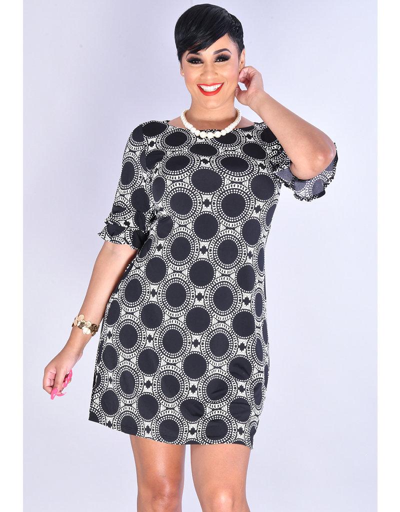 YAMKA-Circle Puff Print Round Neck Double Sleeve Dress