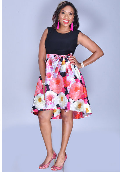 Shelby & Palmer SADIYA- Floral Hi-Lo ITY Top Cap Sleeve Dress