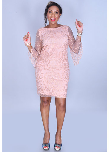 MILDRED- 3/4 Drama Sleeve Overlay Dress