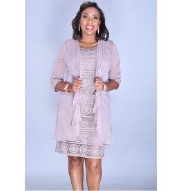 MARLENE- Glitter Broad Strap Dress with 3/4 Sleeve Jacket