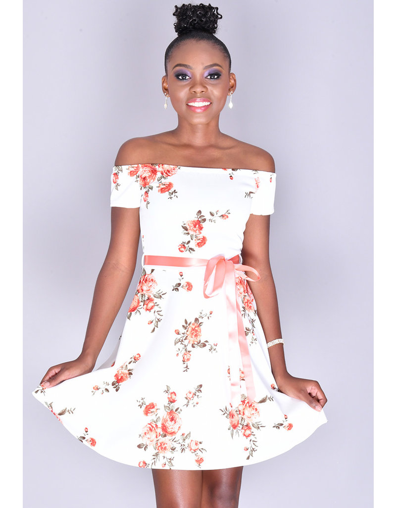 Yabes UNOBIA- Printed Off Shoulder Fit & Flare Dress