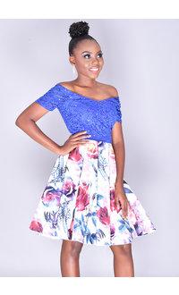 TORIANN- Petite Sequined Top Floral Dress