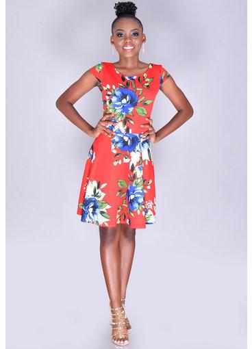 URTINA- Petite Cap Sleeve Floral Dress