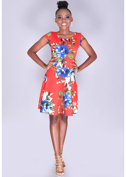 URTINA- Petite Cap Sleeve Floral Dress